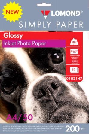 Фотобумага Lomond Simply A4 200г/м2 50л белый глянцевое покрытие для струйной печати 0102147 цена