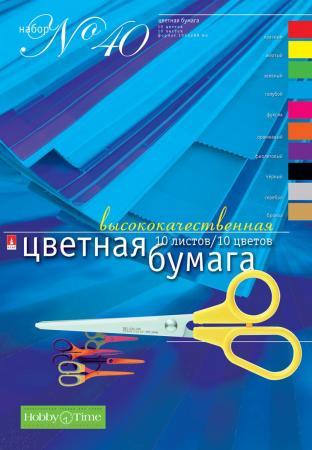 Набор цветной бумаги  Альт №40,  ф.А4, 10л.10цв. набор цв бумаги а4 10л 10цв disney минни 2014 22652