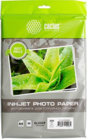 Фотобумага Cactus CS-GA420050ED A4 200г/м2 50л белый глянцевая для струйной печати