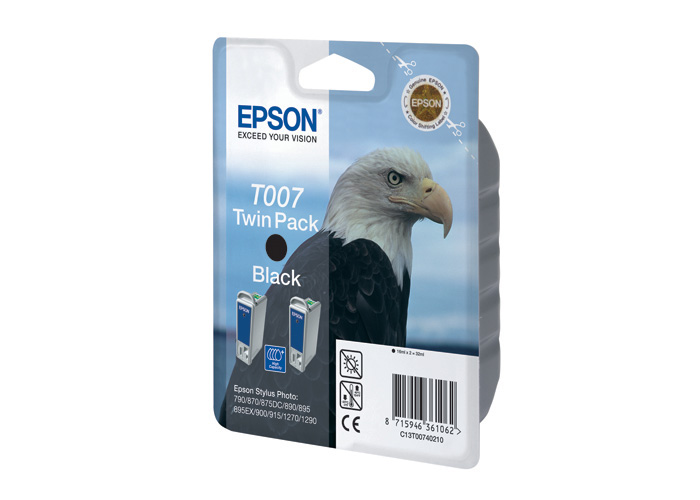 Картридж Epson Original T007402 (черн. двойной) /для Stylus Photo 790, 870, 890, 1270, 1290/ картридж epson color stylus photo 1270 1290 multipack c13t00940210