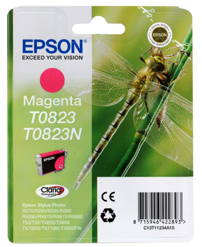 Картридж Epson Original T08234A для R270/390/RX590 пурпурный (C13T11234A10) картридж epson original t11114a10 черный для r270 390 rx590 повышенной емкости