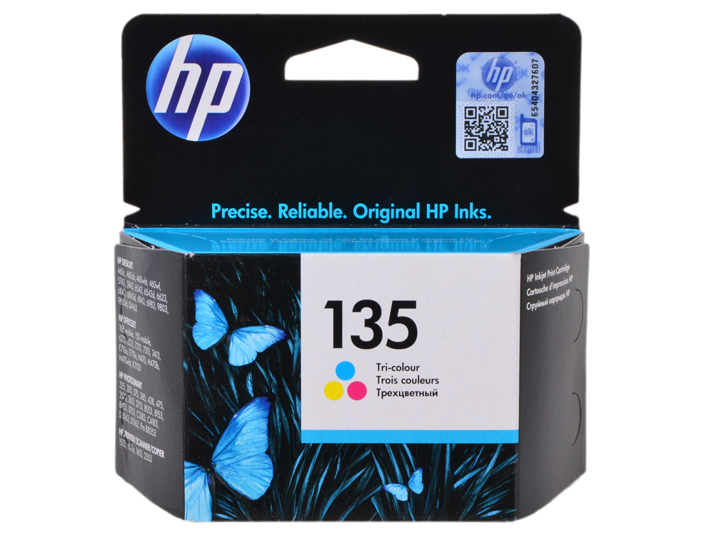 Картридж HP C8766HE (№135) цветной 7мл DJ5743/6543/6843, OJ6213/7313/7413, PS2613/2713/8153/8453 картридж hp c8767he 130 черный dj5743 6843 officejet7413 photosmart2713 8453