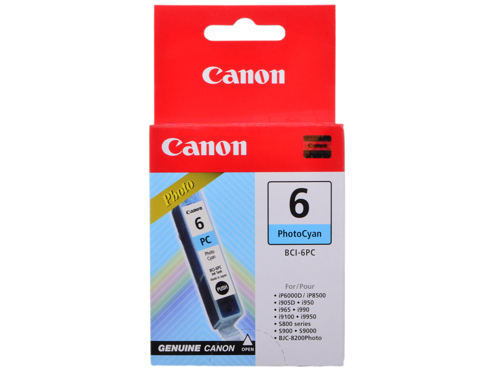 Фоточернильница Canon BCI-6PC для BJС-8200/S900/9000/800//i905D/950/965/9100. Голубой. 270 страниц. картридж canon bci 6pc photo cyan для bjc 8200 bj s 800 s 900 i950 i9100