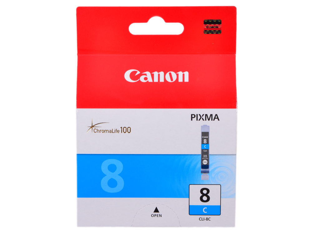 Чернильница Canon CLI-8C для PIXMA MP800/MP500/iP6600D/iP5200/iP5200R/iP4200/IX5000. Голубой. 890 страниц. картридж canon cli 8bk для pixma ip6600d ip4200 ip5200 черный