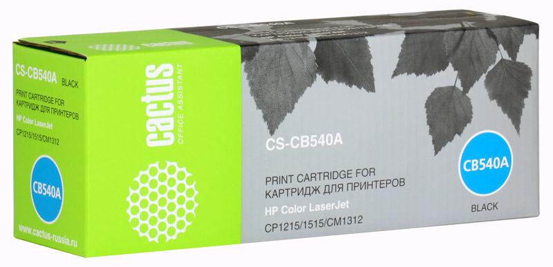 Картридж Cactus CS-CB540A для принтеров HP Color LaserJet CP1215/1515/CM1312, чёрный, 2200 стр.