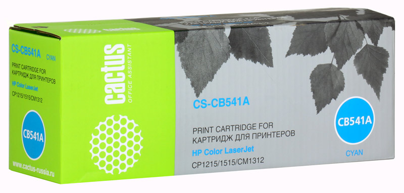 Картридж Cactus CS-CB541A для принтеров HP Color LaserJet CP1215/1515/CM1312, голубой, 1400 стр.
