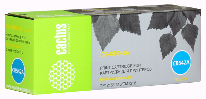 Картридж Cactus CS-CB542A для принтеров HP Color LaserJet CP1215/1515/CM1312, желтый, 1400 стр. nv print cf213a ce323a cb543a magenta тонер картридж для hp laserjet color pro m251n cp1525n cm1415fn cp1215 cm1312 cp1215 canon i sensys lbp5050 mf8030cn mf8080cw lbp 7100cn 7110cw