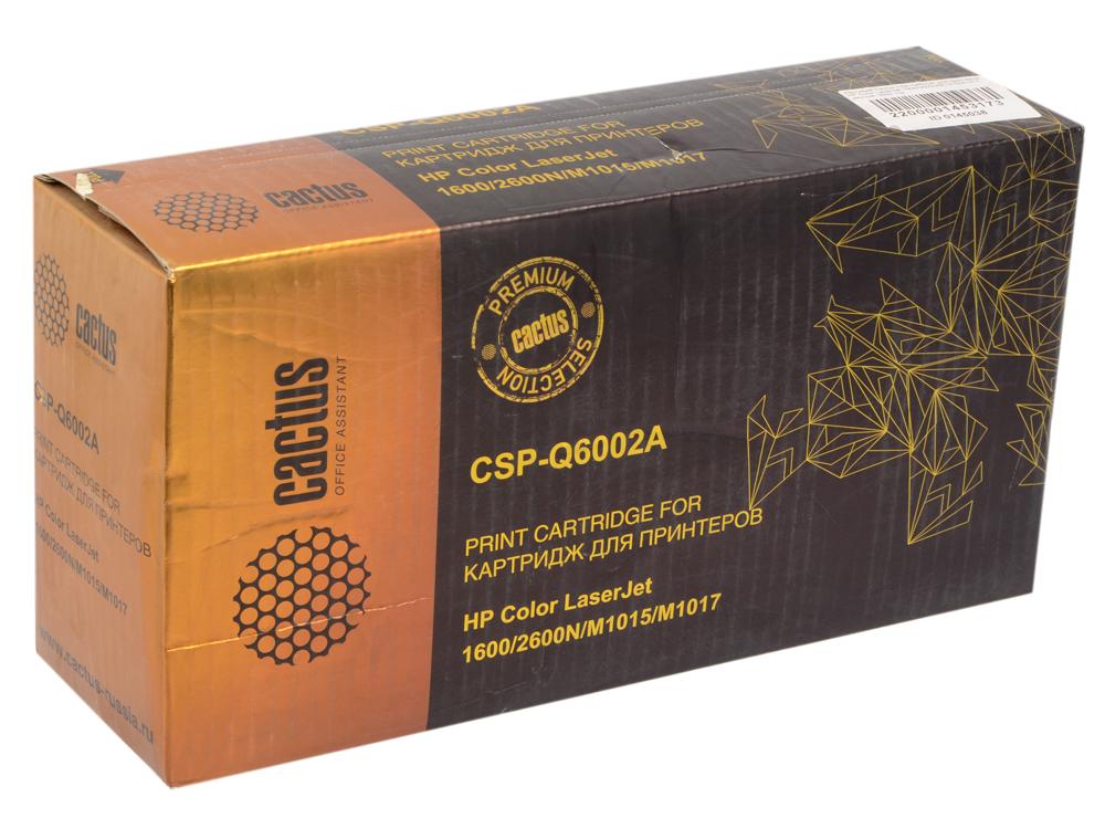 Картридж Cactus CS-Q6002A для принтеров HP Color LaserJet 1600/2600N/M1015/M1017, желтый, 2500 стр. картридж t2 для hp tc h85a laserjet p1102 1102w pro m1132 m1212nf m1214nfh canon i sensys lbp6000 cartrige 725 1600 стр с чипом