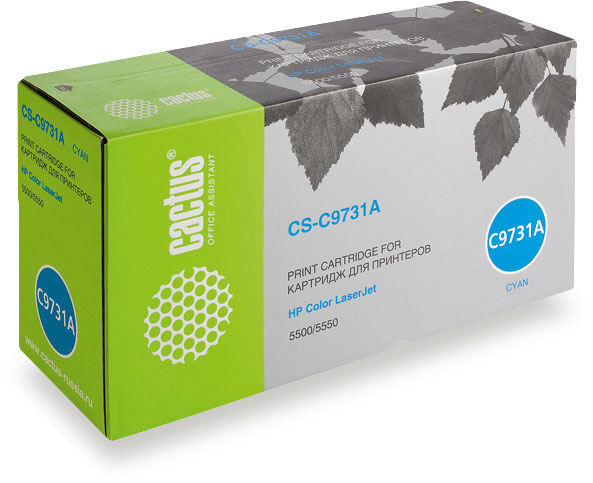Картридж Cactus CS-C9731A для принтеров HP Color LaserJet 5500/5550, голубой, 13000 стр. befon c9730a c9731a c9732a c9733a 9730 9731 9732 9733 color toner cartridge compatible for hp color laserjet 5500 5550 series