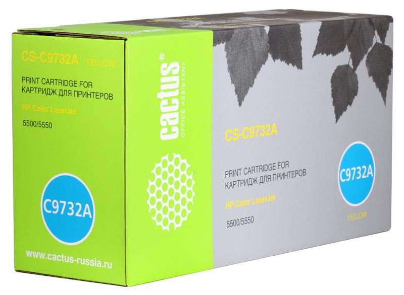 Картридж Cactus CS-C9732A для принтеров HP Color LaserJet 5500/5550, желтый, 13000 стр. картридж cactus cs c6658 58 для hp dj 5550 фото черный