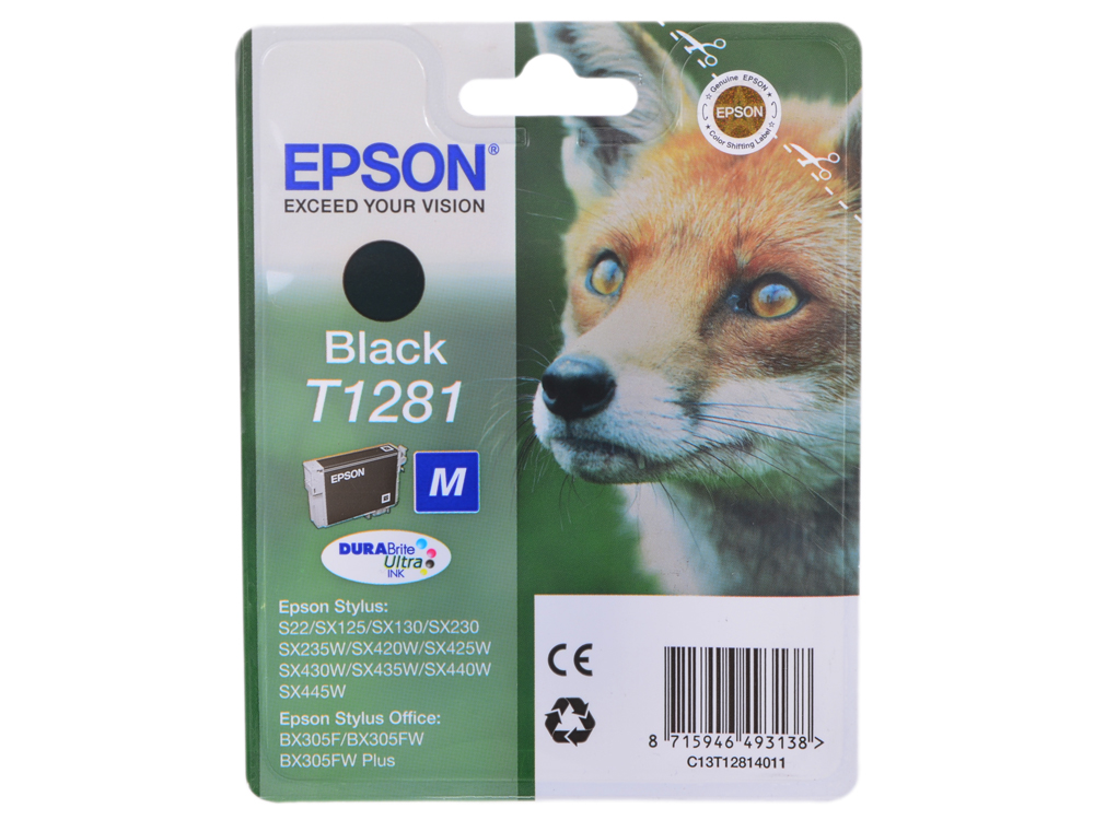 Картридж Epson Original T1281 (black) для S22/SX125 (C13T12814011) картридж epson original t1284 yellow для s22 sx125 c13t12844011