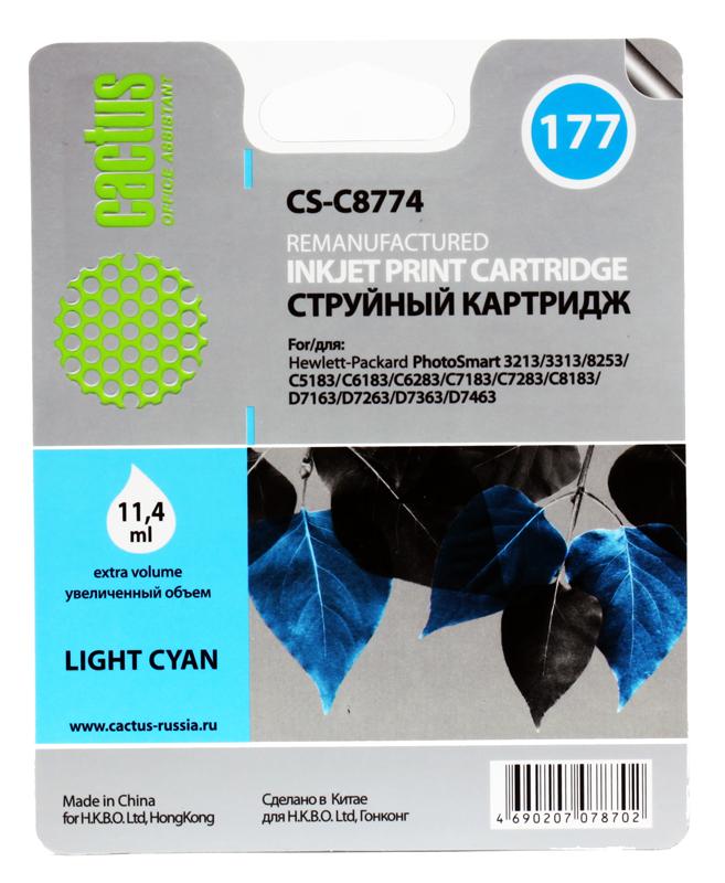 Картридж Cactus CS-C8774  №177 (светло-голубой) для HP PhotoSmart 3213/3313/8253/C5183/C6183/C6283/C7183/C7283/C8183/D7163/D7263/D7363/D7463 hp c8721he 177 black для photosmart 8253 3213 3313
