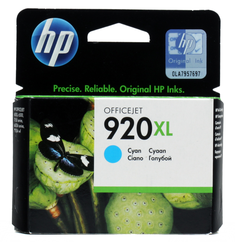 Картридж HP CD972AE (№ 920XL) голубой OJ 6000/6500/7000 картридж струйный hp 920xl cd973ae пурпурный для hp oj 6000 6500 700стр