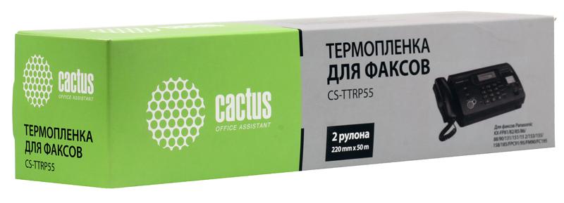 Термопленка CACTUS CS-TTRP55 для факсов Panasonic (KXF-A55) KX-FP81/82/85/86/88/90/131/151/15 2/153/155/158/185/FPC91/95/FM90/FC195 (2шт/ 220mm х 50м.
