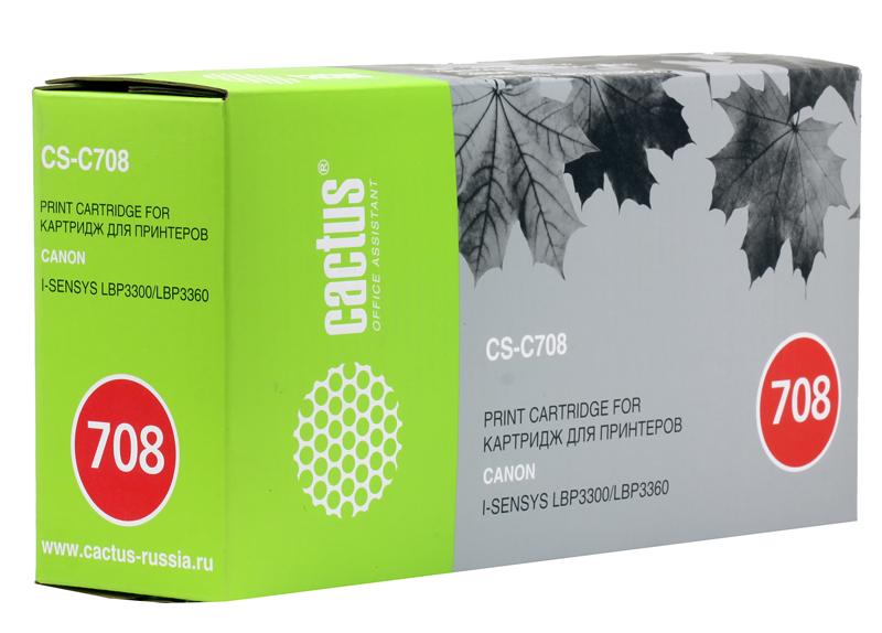 Картридж CACTUS CS-C708 для принтеров CANON i-SENSYS LBP3300/LBP3360, черный, 2500 стр. принтер canon i sensys colour lbp653cdw лазерный цвет белый [1476c006]