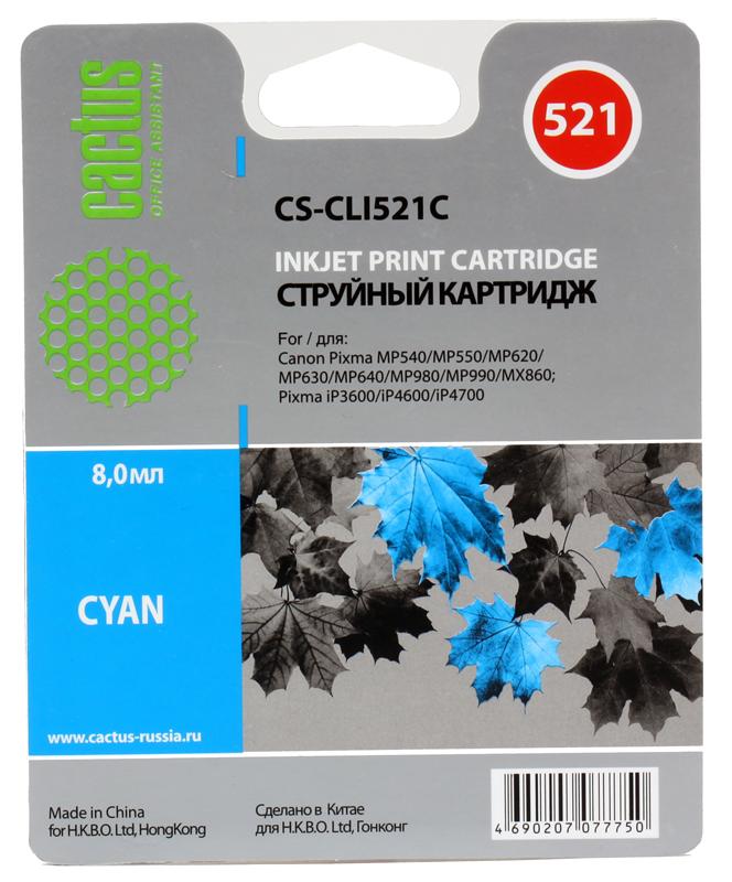 Картридж Cactus CS-CLI521С для CANON PIXMA MP540/ MP550/ MP620/ MP630/ MP640/ MP660/ MP980/ MP990; iP3600/ iP4600/ iP4700; MX860, голубой, 446 стр., 9 картридж canon cli 521bk для pixma ip3600 ip4600 mp540 mp620 mp630 mp980 черный