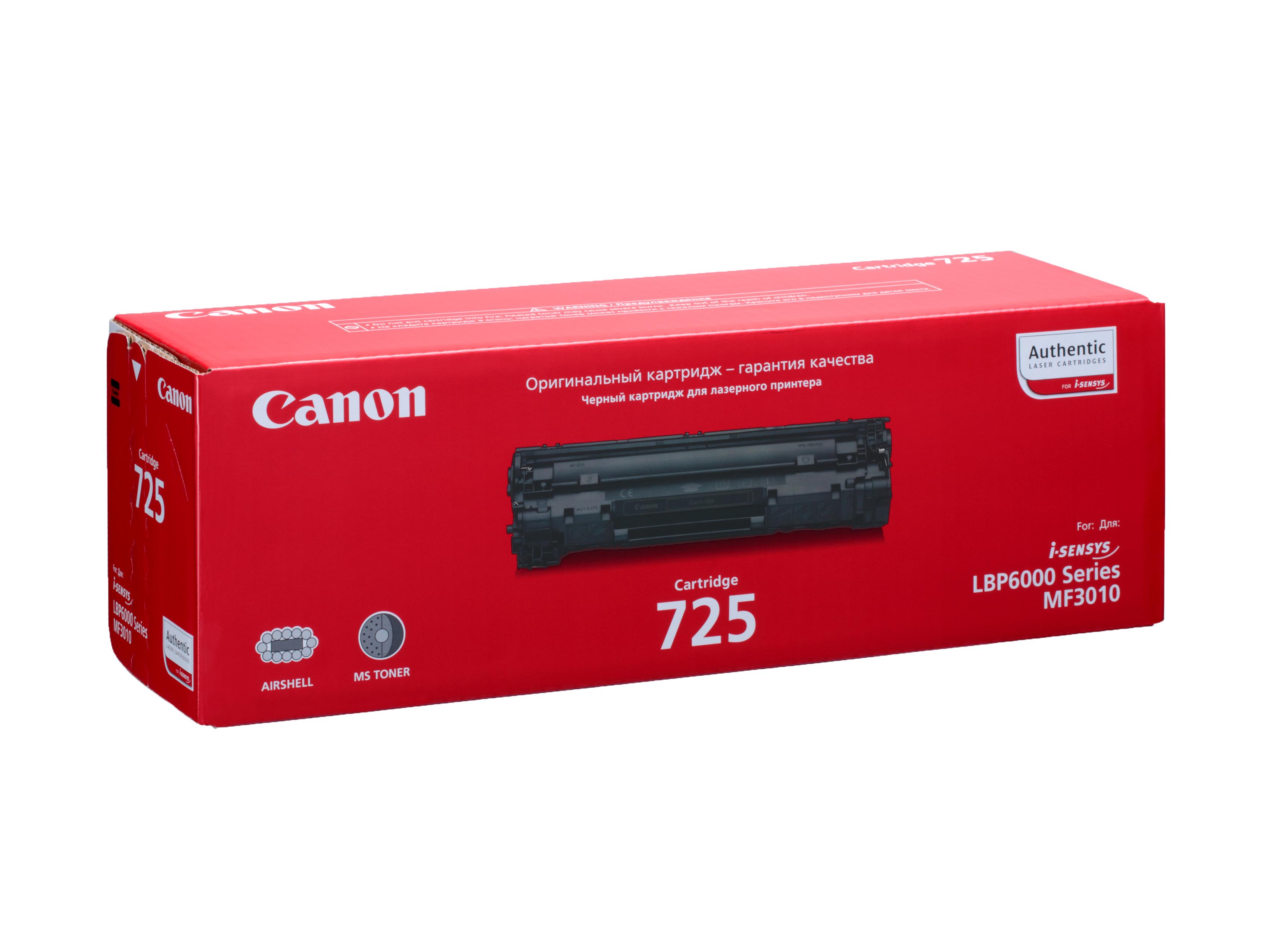 Картридж Canon 725 для LBP-6000/LBP-6000B. Чёрный. 1600 страниц. картридж canon ep 27 для lbp 3200 чёрный 2500 страниц