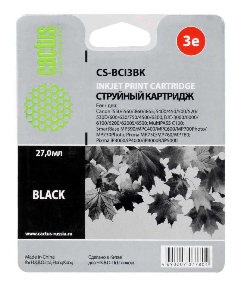 Картридж CACTUS  CS-BCI3BK для CANON BJC-3000/ BJC-6000/ BJC-6100/ BJC-6200/ BJC-6200S; S400/ S450; i560/ i560S/ i860/ i865; C100; MP390/ MPC400/ MP70