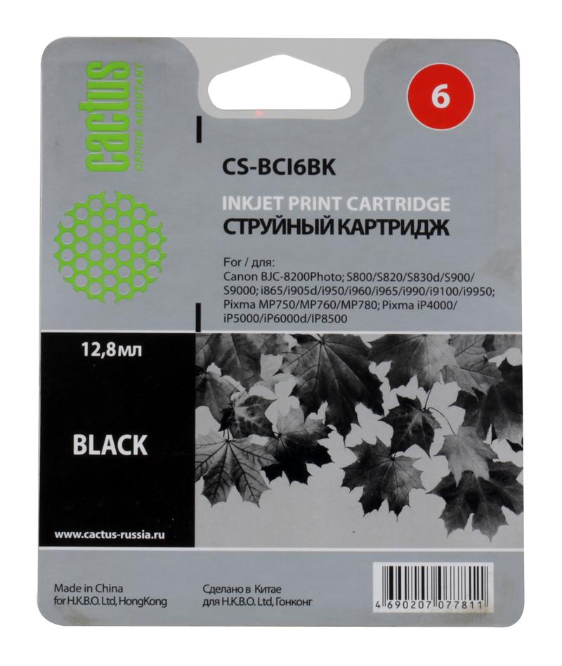 Картридж CACTUS  CS-BCI6BK для CANON  i905D/ i950S/ i960x/ i965/ i990/ i9100/ i9950; S800/ S820/ S900/ S9000;  iP600D/ iP8500; JX500; MP750/ MP760; BJ tr design bk 276 5x13 4x98 d58 6 et35 s