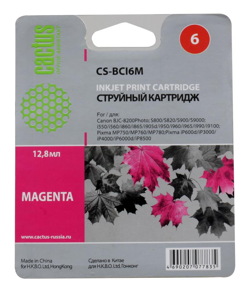 Картридж CACTUS  CS-BCI6M для CANON S800/ S820/ S900/ S9000; i550/ i560/ i860/ i865/ i905D/ i950S/ i960x/ i965/ i990/ i9100/ i9950; JX500; MP750/ MP76 потребительские товары cs pro cs 1 dslr 6d canon 5d 3 7 d t3i d800 d7100 d3300 pb039