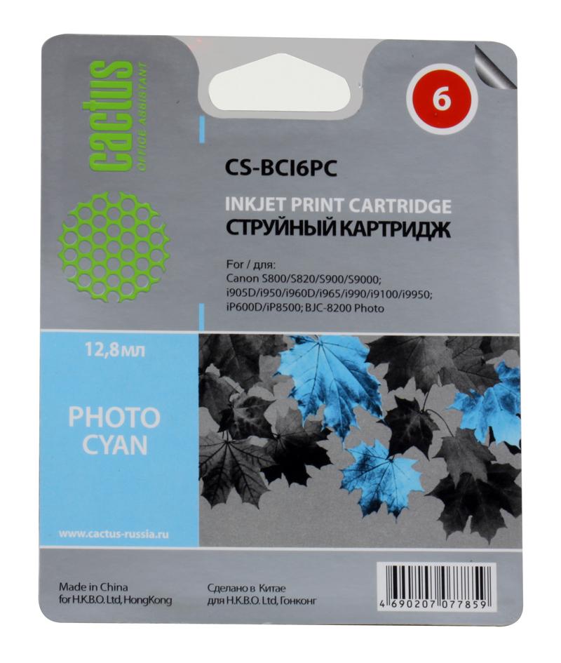 Картридж CACTUS  CS-BCI6PC для CANON S800/ S820/ S900/ S9000; i905D/ i950S/ i960x/ i965/ i990/ i9100/ i9950; iP600D/ iP8500; BJC-8200 Photo, фото-голу