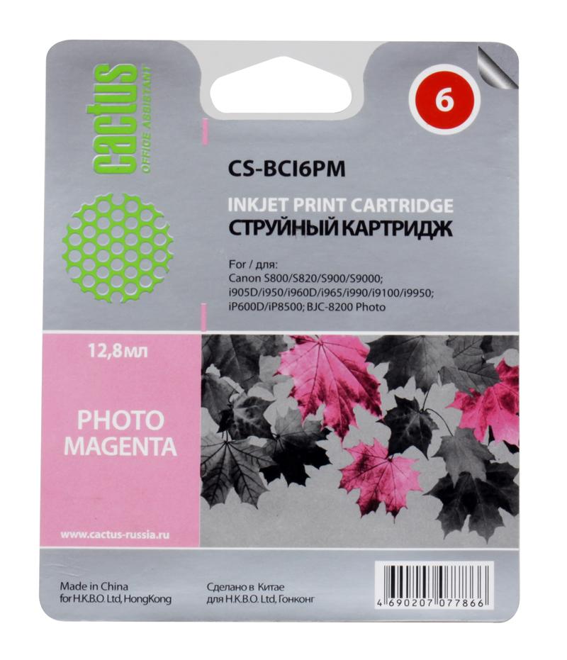 Картридж CACTUS  CS-BCI6PM для CANON S800/ S820/ S900/ S9000; i905D/ i950S/ i960x/ i965/ i990/ i9100/ i9950; iP600D/ iP8500; BJC-8200 Photo, фото-пурп