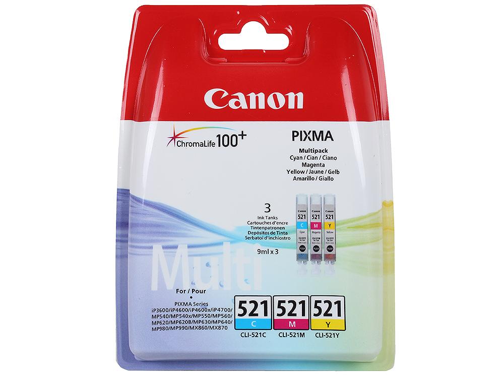 Картридж Canon CLI-521C/M/Y для iP3600/4600 (в упаковке 3 штуки). Цветные. 520 страниц/шт. canon canon cli 521c