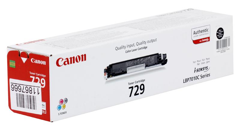 Картридж Canon 729 BK для i-SENSYS LBP7010C  LBP7018C. Чёрный. 1200 страниц.