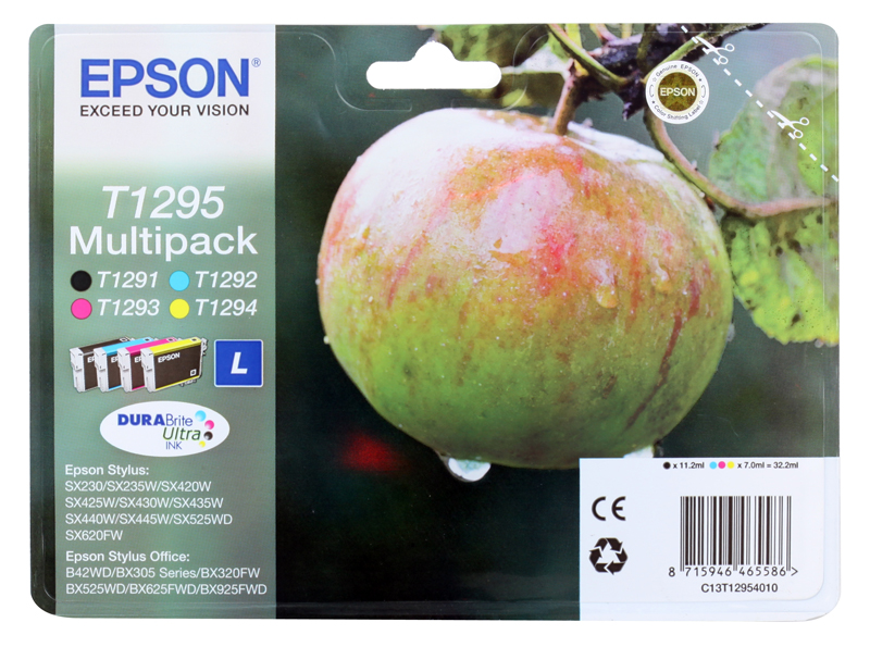 Картридж Epson Original T1295 (C13T12954010) комплект Т1291, Т1292, Т1293, Т1294 для SX420W/BX305F original cc03main mainboard main board for epson l455 l550 l551 l555 l558 wf 2520 wf 2530 printer formatter