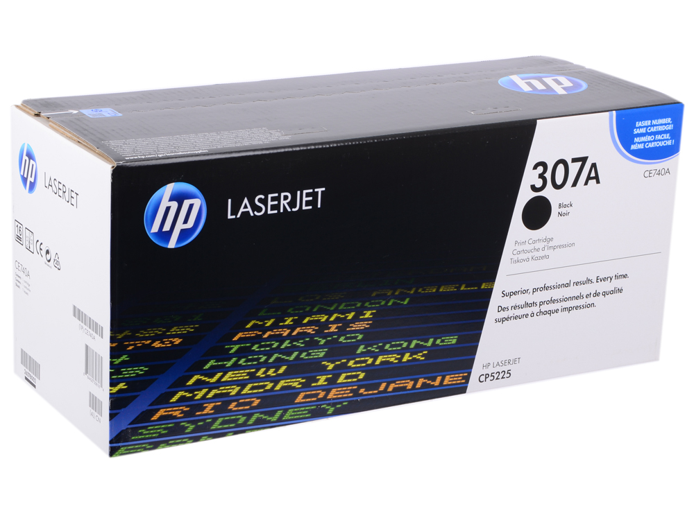 Картридж HP CE740A (№307A) для принтеров HP Color LaserJet CP5225, Черный. 7000 страниц. hp ce742a 307a yellow тонер картридж для color laserjet cp5225