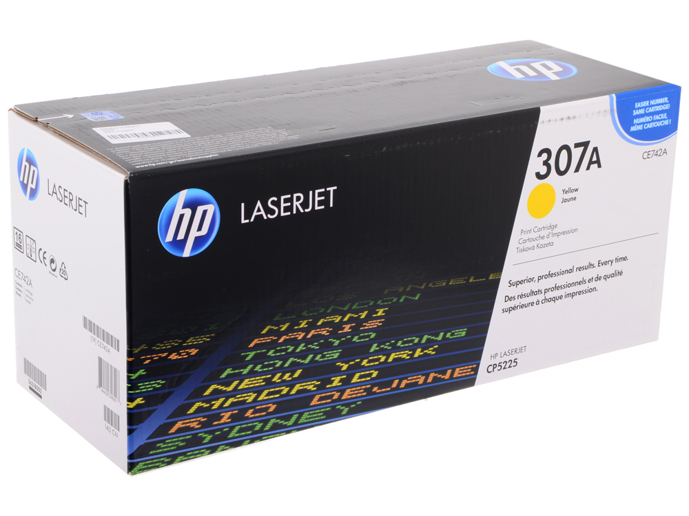 Картридж HP CE742A (№307A) для принтеров HP Color LaserJet CP5225. Жёлтым. 7300 страниц. hp ce742a 307a yellow тонер картридж для color laserjet cp5225