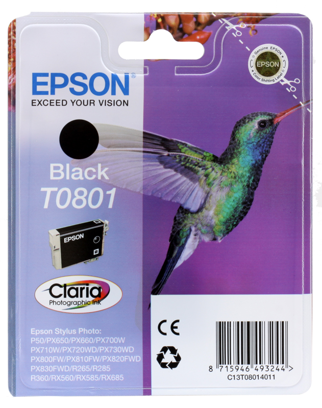 Картридж Epson Original T08014011 черный для P50/PX660 original cc03main mainboard main board for epson l455 l550 l551 l555 l558 wf 2520 wf 2530 printer formatter