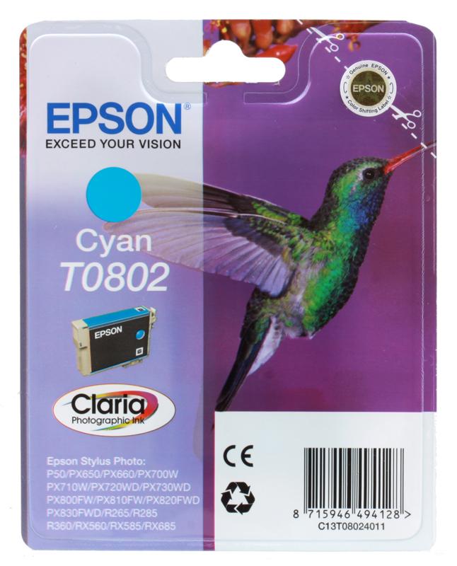 Картридж Epson Original T08024011 голубой для P50/PX660 картридж epson original t08064011 светло пурпурный для p50 px660