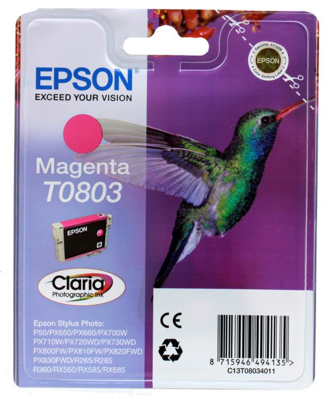Картридж Epson Original T08034011 пурпурный для P50/PX660 original cc03main mainboard main board for epson l455 l550 l551 l555 l558 wf 2520 wf 2530 printer formatter