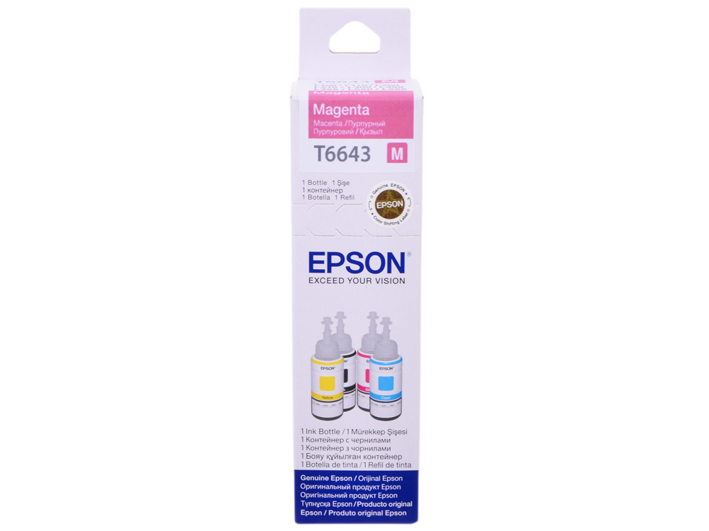 Картридж Epson Original T66434A пурпурный для L100 original cc03main mainboard main board for epson l455 l550 l551 l555 l558 wf 2520 wf 2530 printer formatter