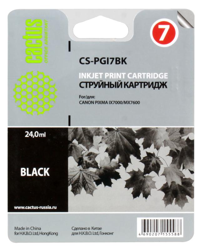 Картридж CACTUS CS-PGI7BK  для Canon Pixma MX7600/iX7000, чёрный, 570 стр. картридж sharp mx b20gt1 для mx b200 201 черный