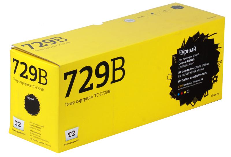 Картридж T2 для Canon TC-C729B для Canon i-SENSYS LBP7010C/7018C/HP LJ Pro CP1025/1025nw/Pro 100 MFP M175A/Pro 100 M175nw (1200 стр.) Черный, с чипом картридж t2 tc c729y для canon i sensys lbp7010c 7018c hp laserjet pro cp1025 1025nw pro 100 mfp желтый