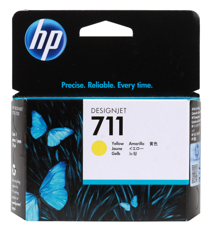 Картридж HP 711 с желтыми чернилами 29мл CZ132A картридж hp 711 с голубыми чернилами 29мл cz130a