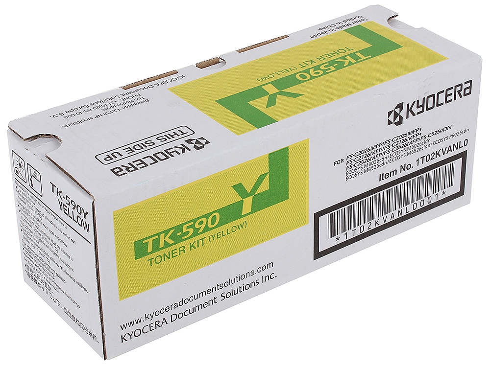 Тонер Kyocera TK-590Y для FS-C2026MFP/C2126MFP/C2526MFP/C2626MFP/C5250DN.Жёлтый. 5000 страниц.