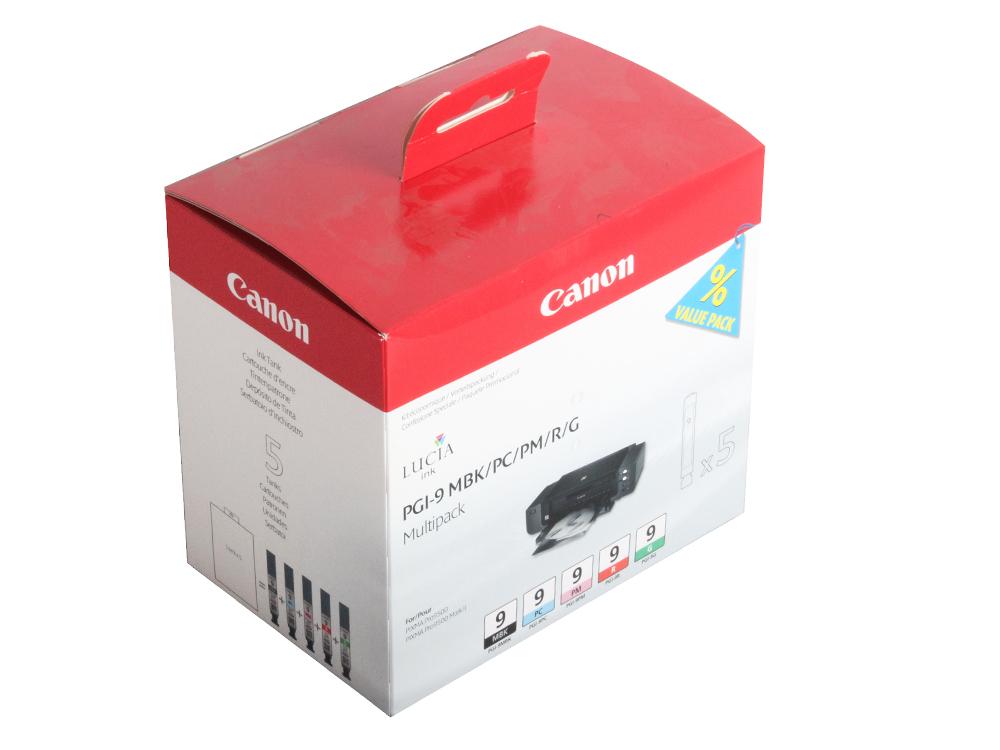 где купить Картридж Canon PGI-9 MBK/PC/PM/R/G для PIXMA Pro9500. Матовый чёрный, красный, зелёный, фотокартридж голубой и пурпурный. дешево