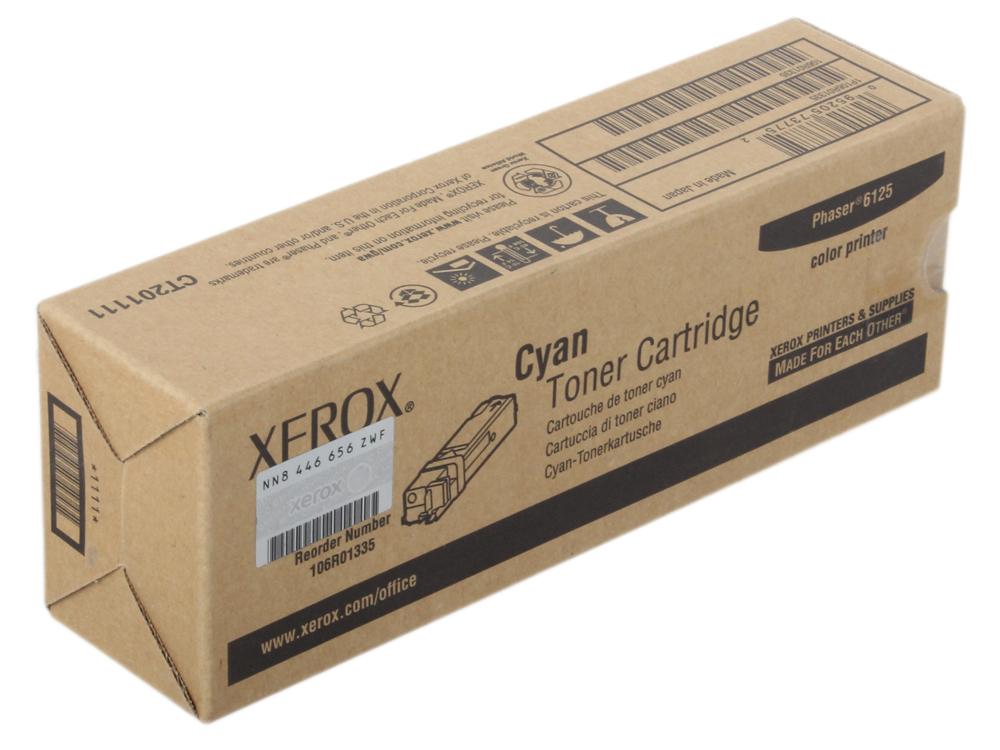 Картридж Xerox 106R01335 для Phaser 6125. Голубой. 1000 страниц. тонер картридж xerox 106r01335 голубой для xerox ph 6125 1000стр