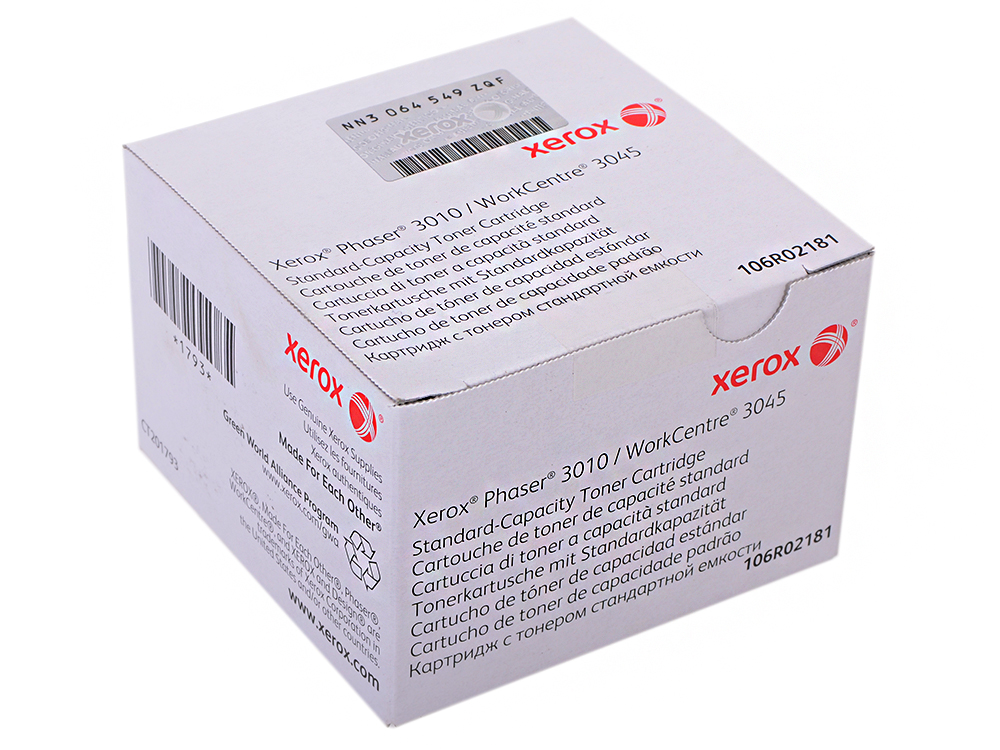 Картридж Xerox 106R02181 для Phaser 3010/WorkCentre 3045/B. Чёрный. 1000 страниц. картридж nv print совместимый xerox для phaser 3010 40 wc 3045 чёрный 2300 страниц 106r02183
