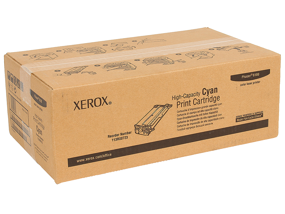 Картридж Xerox 113R00723 для Phaser 6180. Голубой. 6000 страниц. color toner powder for xerox phaser c6180 c6280 printer laser for xerox c6280 c6180 toner refill powder use for 6180 toner xerox