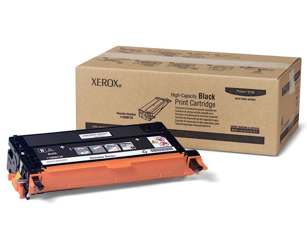 Картридж Xerox 113R00726 для Phaser 6180/6180MFP. Чёрный. 6000 страниц. картридж xerox 109r00725 для phaser 3120 3130 чёрный 3000 страниц