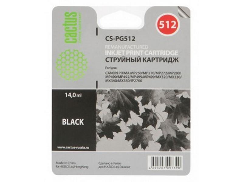 Картридж CACTUS CS-PG512 для Canon Pixma MP240/MP250/MP260. Чёрный. 400 страниц.