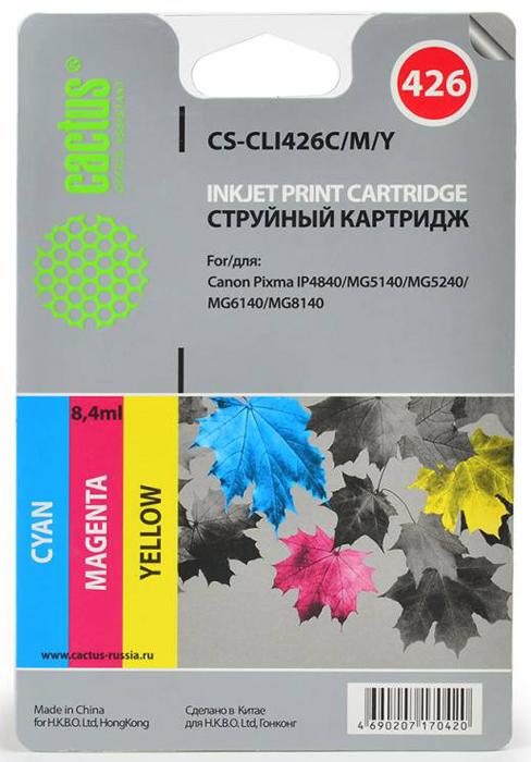 Картридж CACTUS CS-CLI426C/M/Y для Pixma MG5140/5240 (450стр.) Комплект. картридж cactus cs cli426c m y для pixma mg5140 5240 450стр комплект