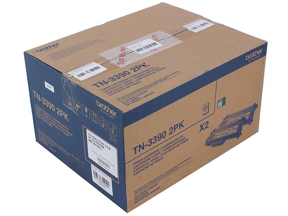 Тонер-картридж Brother TN3390TWIN для HL-6180DW/DCP-8250DN/MFC-8950DW (12000 стр) 2 штуки refillable color ink jet cartridge for brother printers dcp j125 mfc j265w 100ml