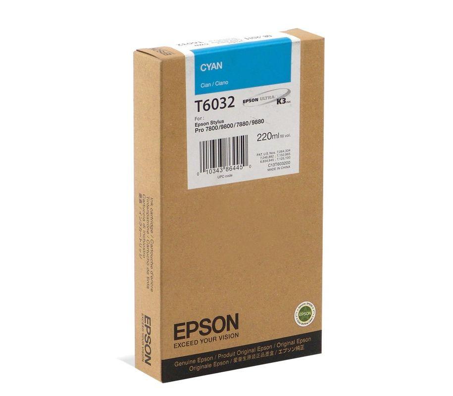 Картридж Epson Original T603200 для Stylus Pro 7800/9800/7880/9880. Голубой.