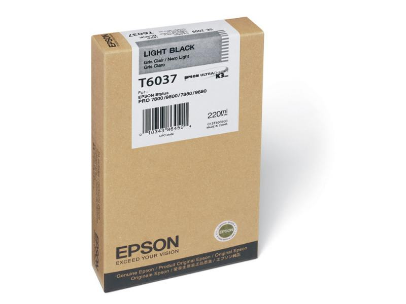 Картридж Epson Original T603700 для Stylus Pro 7800/9800/7880/9880. Светло-черный. original cc03main mainboard main board for epson l455 l550 l551 l555 l558 wf 2520 wf 2530 printer formatter