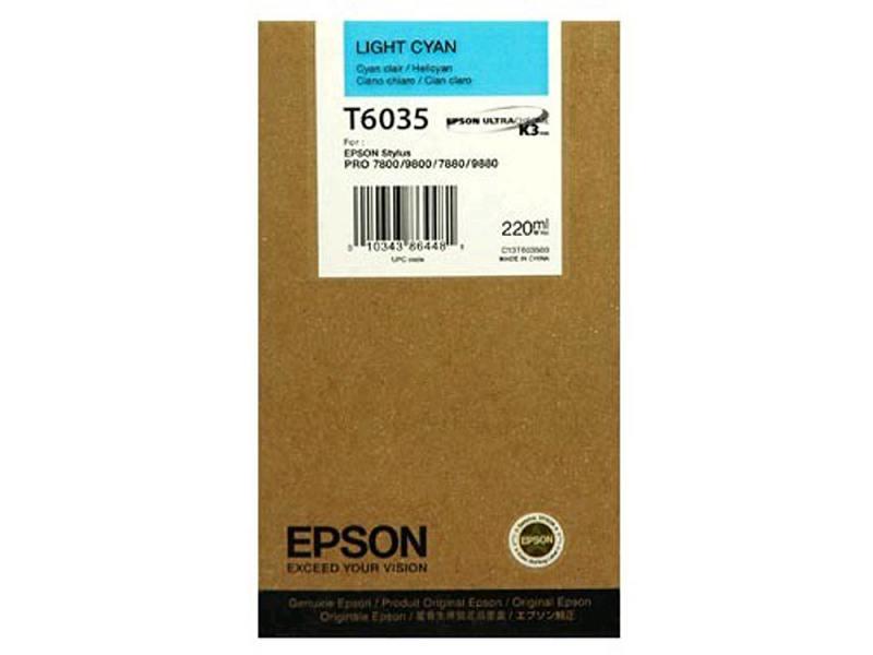 Картридж Epson Original T603500 для Stylus Pro 7800/9800/7880/9880. Светло-голубой. dx5 dx7 pro 7450 7800 7880c 9450 9800 9880c paper margin sensor printer parts